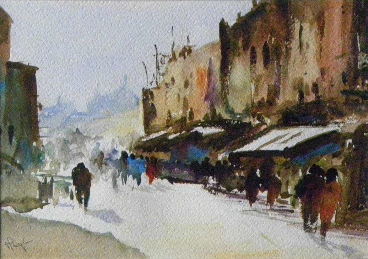 I usually look at photos of my travels, and they gradually form in my mind into an idea I pick up a brush and let my brush do the drawing, says Monjulee.