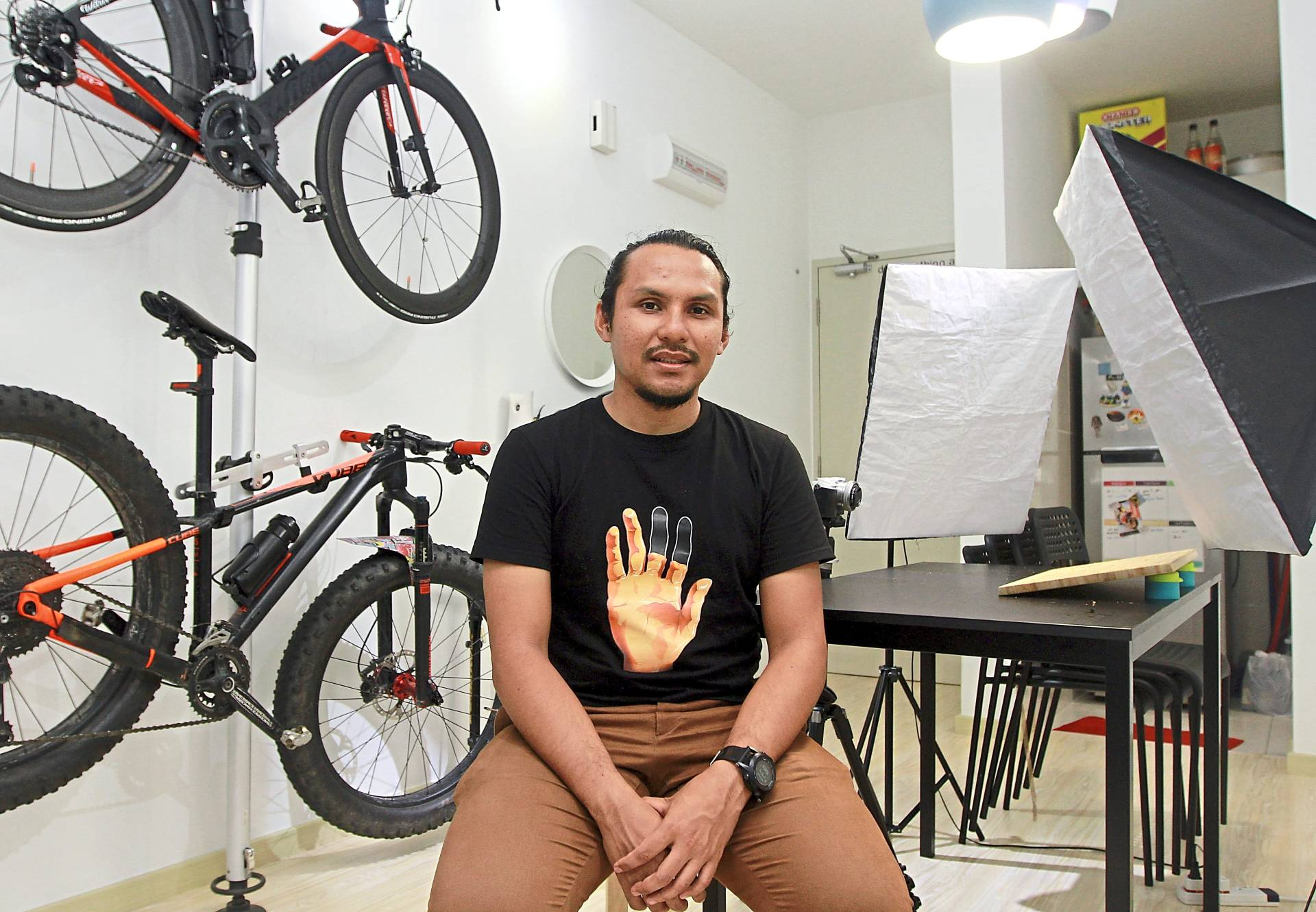 Isaac can eat up to 5,000 calories a meal for his videos but is also a serious athlete who cycles and trains for marathons.