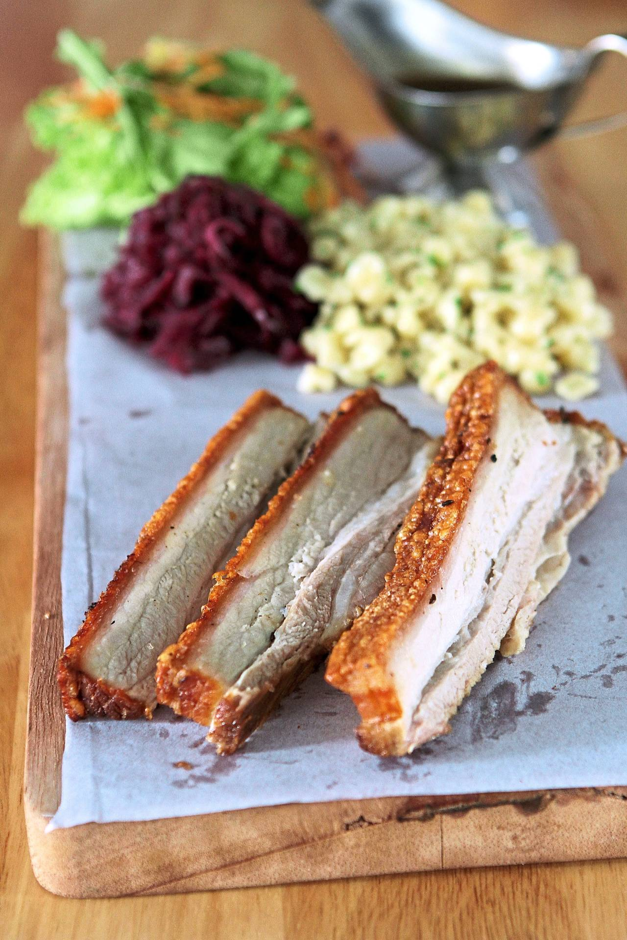 The crispy pork belly will delight the senses with a variety of textures from the crunchy skin to the tender meat.
