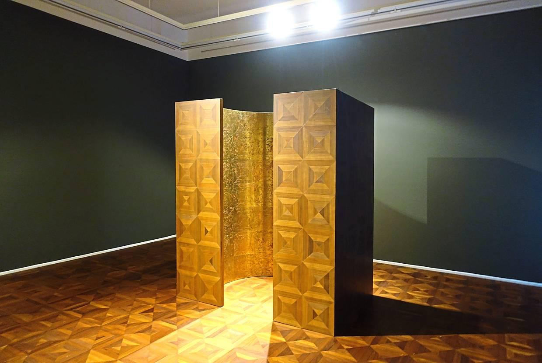 Seah's 'Capsule' (wood and copper sculpture installation, 2019). Photo: Richard Koh Fine Art