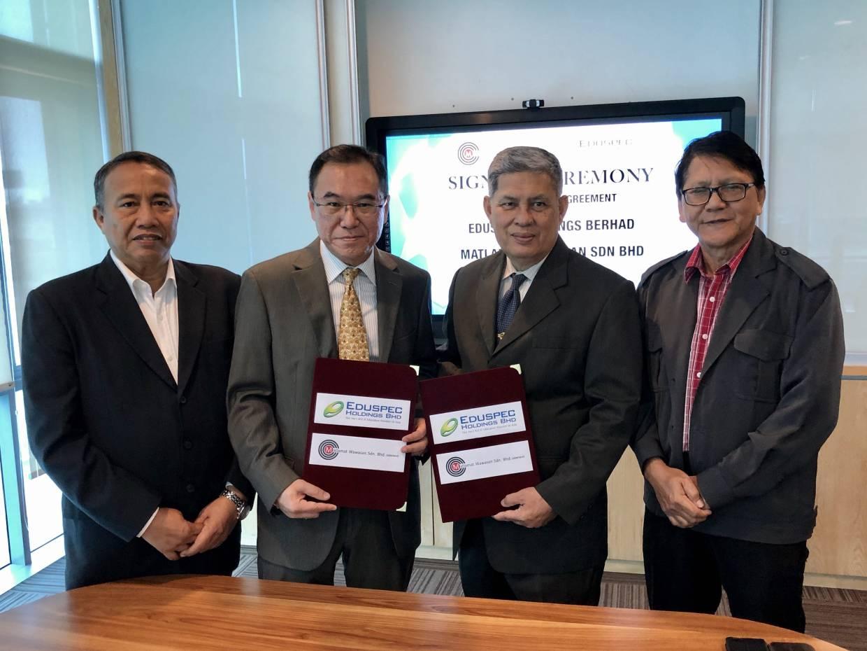 From left are Datuk Ruslan Madon, director of Matlamat Wawasan Sdn Bhd; Lim Een Hong, CEO of Eduspec Holdings Bhd; Tan Sri Alimuddin Mohd Dom, chairman of Matlamat Wawasan Sdn Bhd and Datuk Jemale Paiman, director of Matlamat Wawasan.