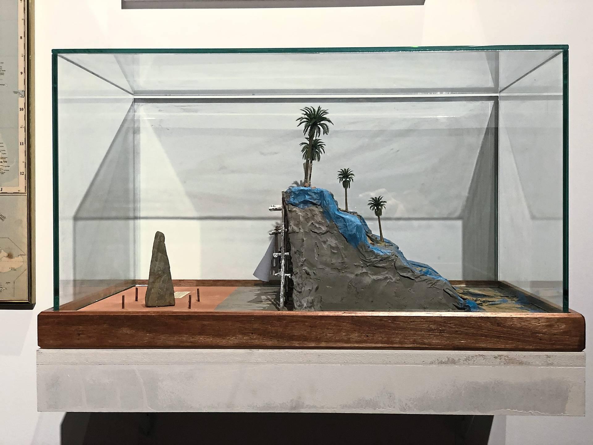 Izat Arif's 'Taman Kenangan 23' (cement, soil, plaster, plastic coconut tree, tarpaulin, stone, wood and glass, 2019). Photo: Ilham Gallery