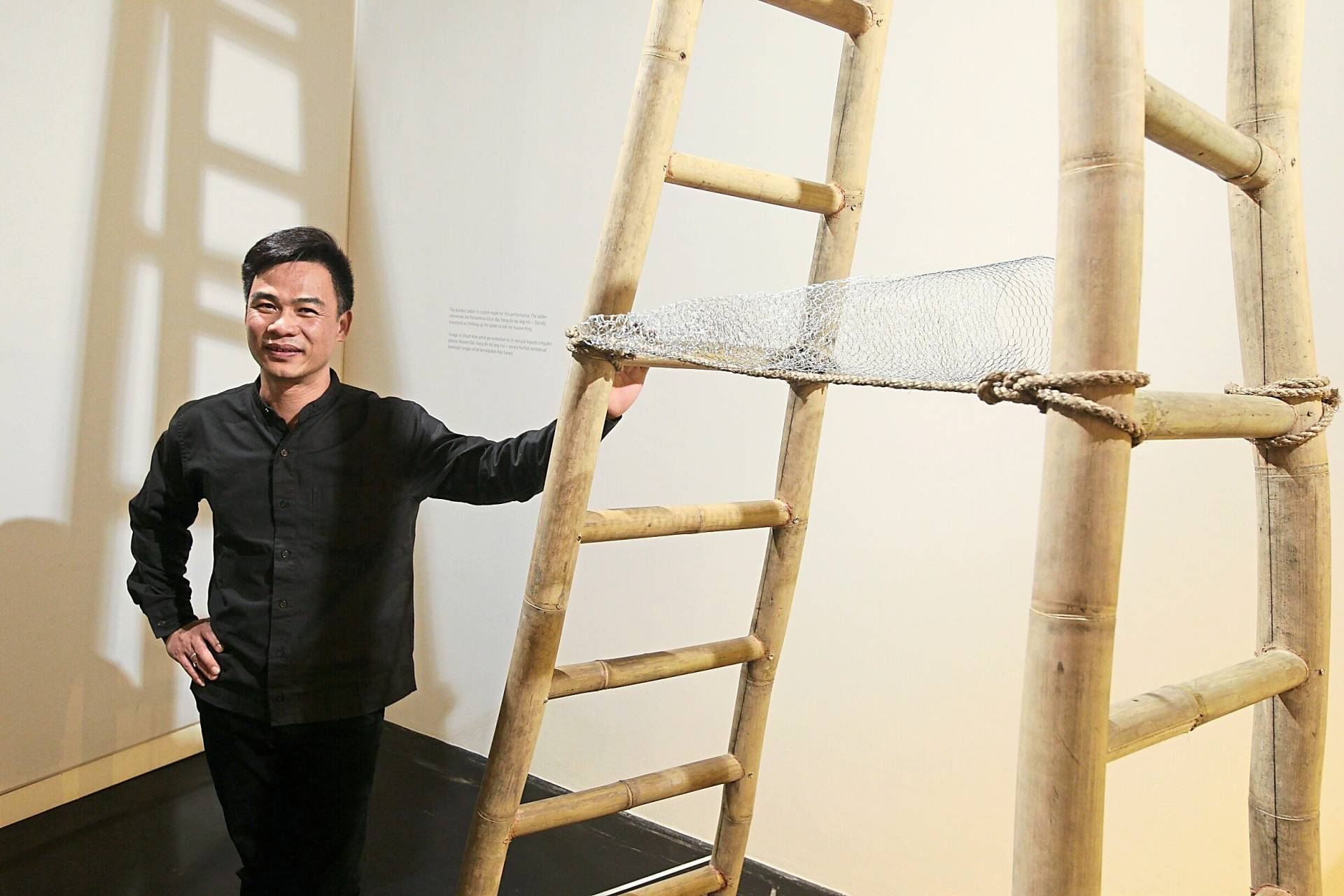 Hoang with his 'Muffled Puddle' performance piece at 'Domestic Bliss'. Photo: The Star/Azman Ghani