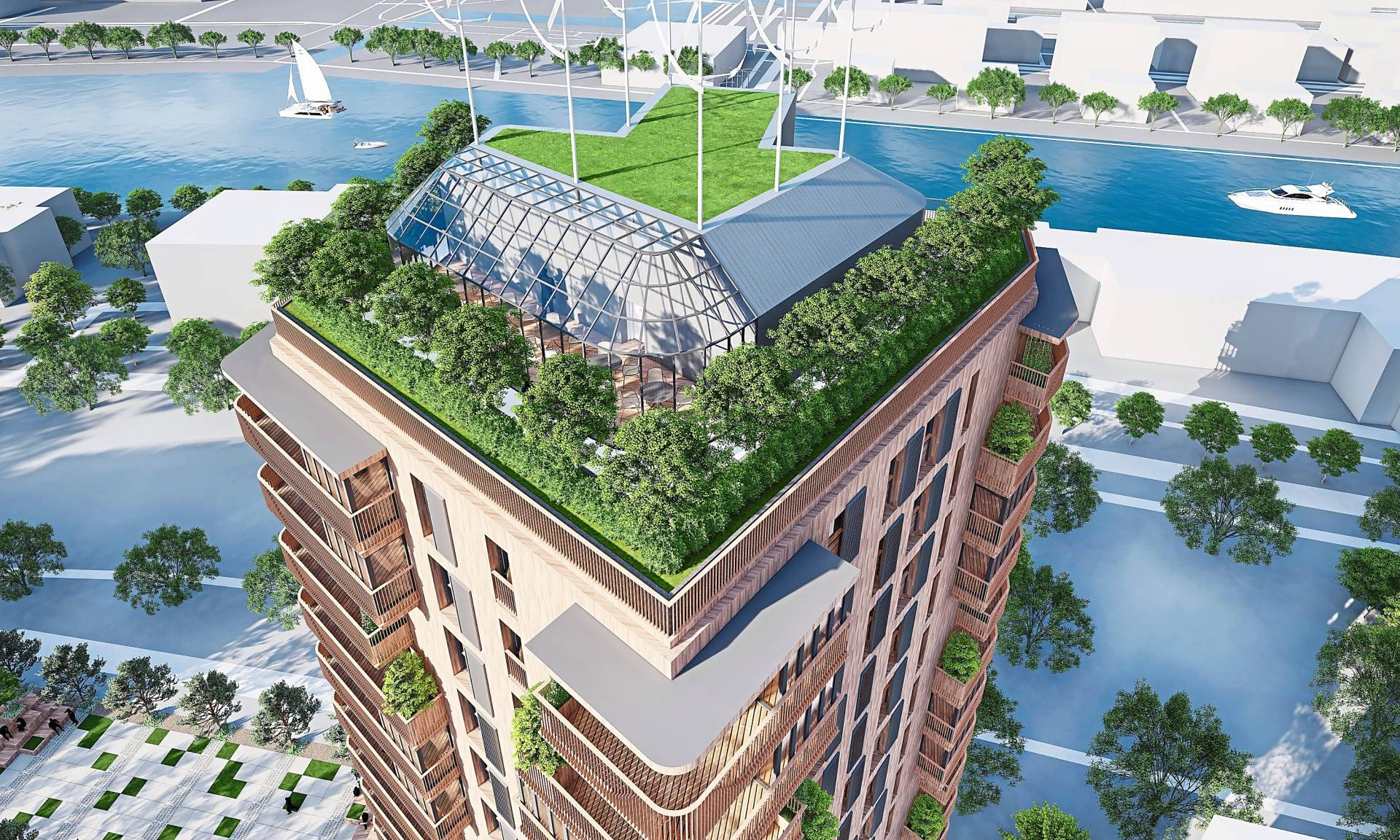 Artist's impression of the 15-storey residential tower sky garden.