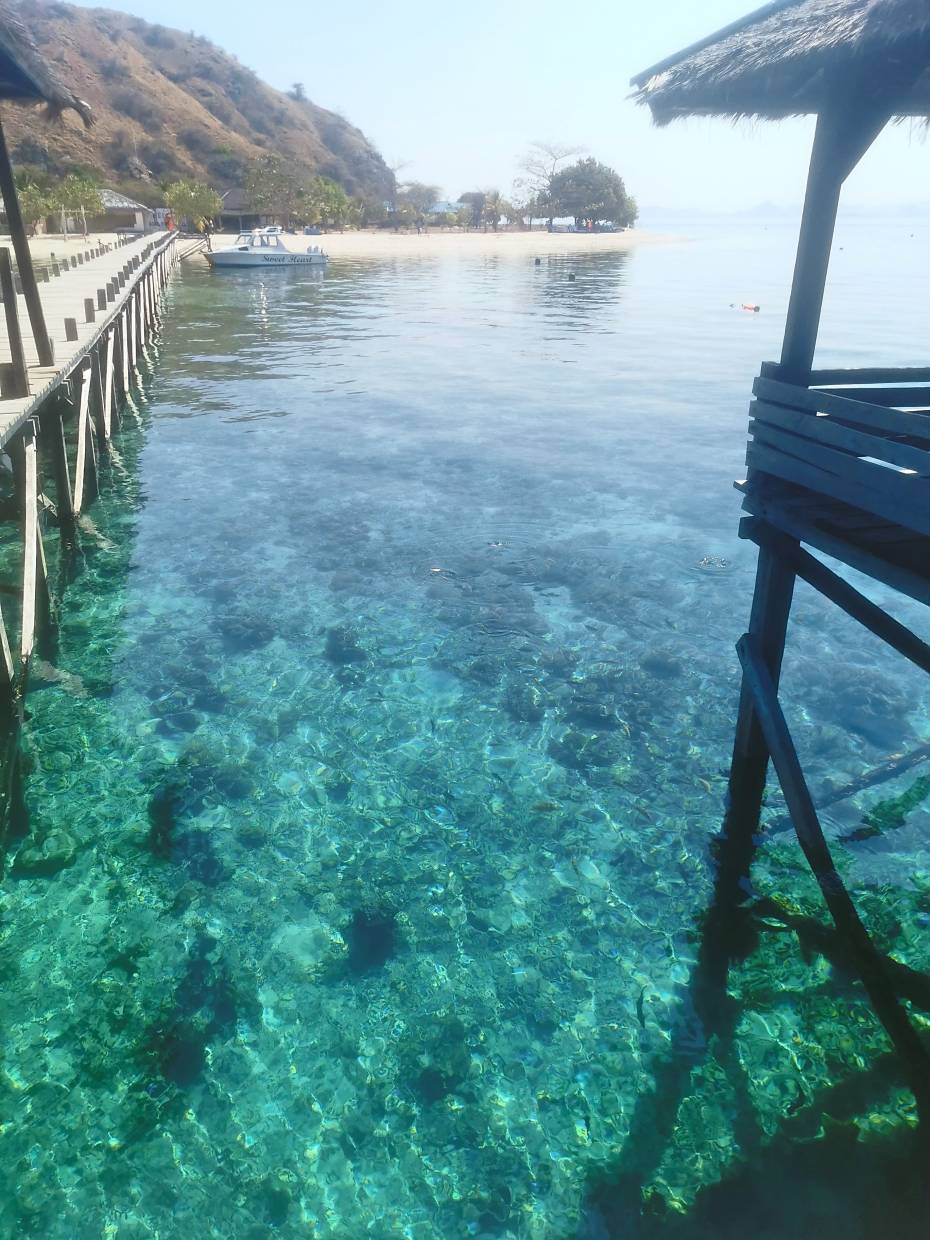 Crystal clear waters of Kanawa Island where you can view lovely corals right at the jetty.