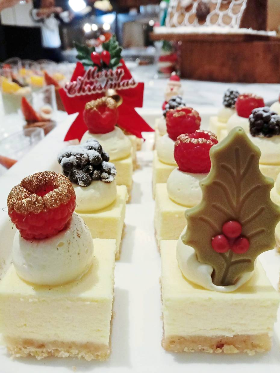 Cheesecake from the dessert  section of Evolution Cafe's Christmas buffet.