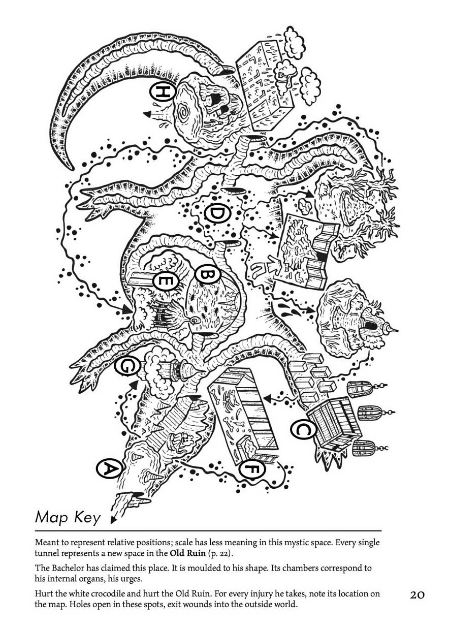 A map from in the 'Lorn Song Of The Bachelor' role-playing game, with art by Nadhir Nor. Photo: Handout