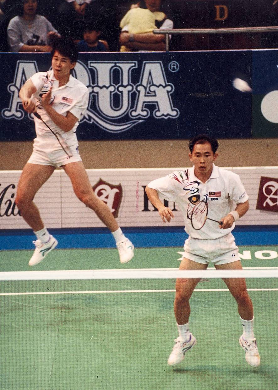 Stinging smash: Soon Kit (left) and Kim Hock in action during the 1996 Atlanta Olympic Games.