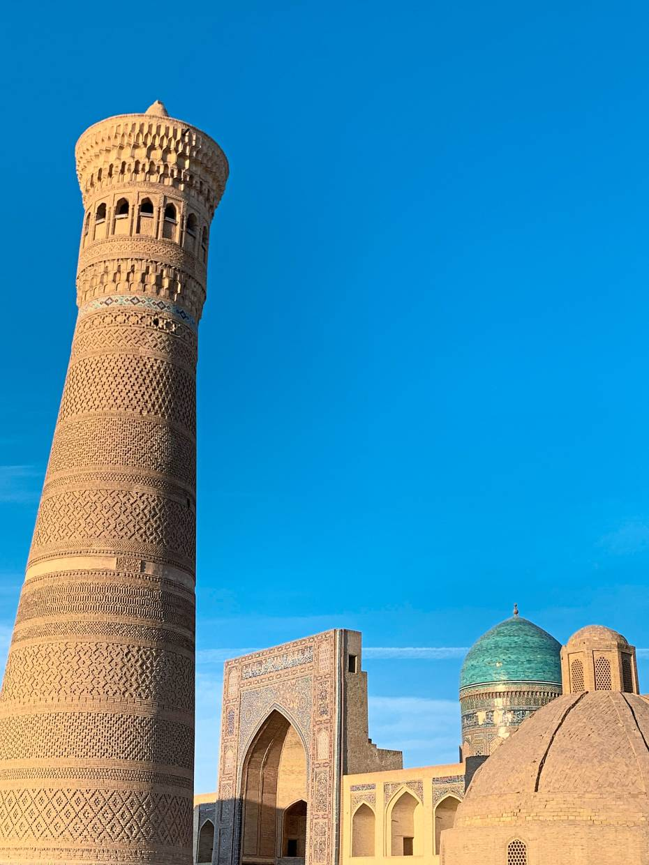 The Kalyan minaret, built in the year 892, is a minaret of the Po-i-Kalyan mosque complex in Bukhara.
