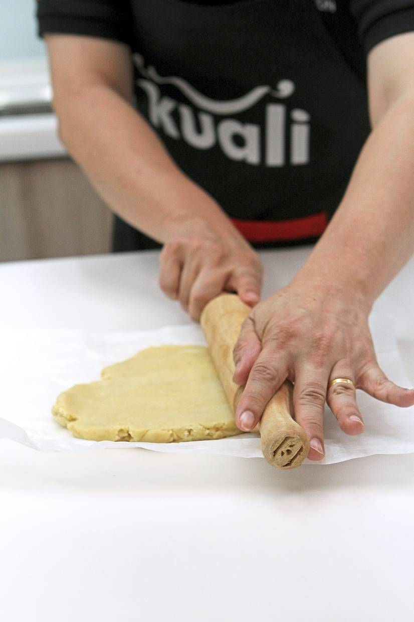 Shortcrust pastry is made with four parts flour, two parts butter and one part water.