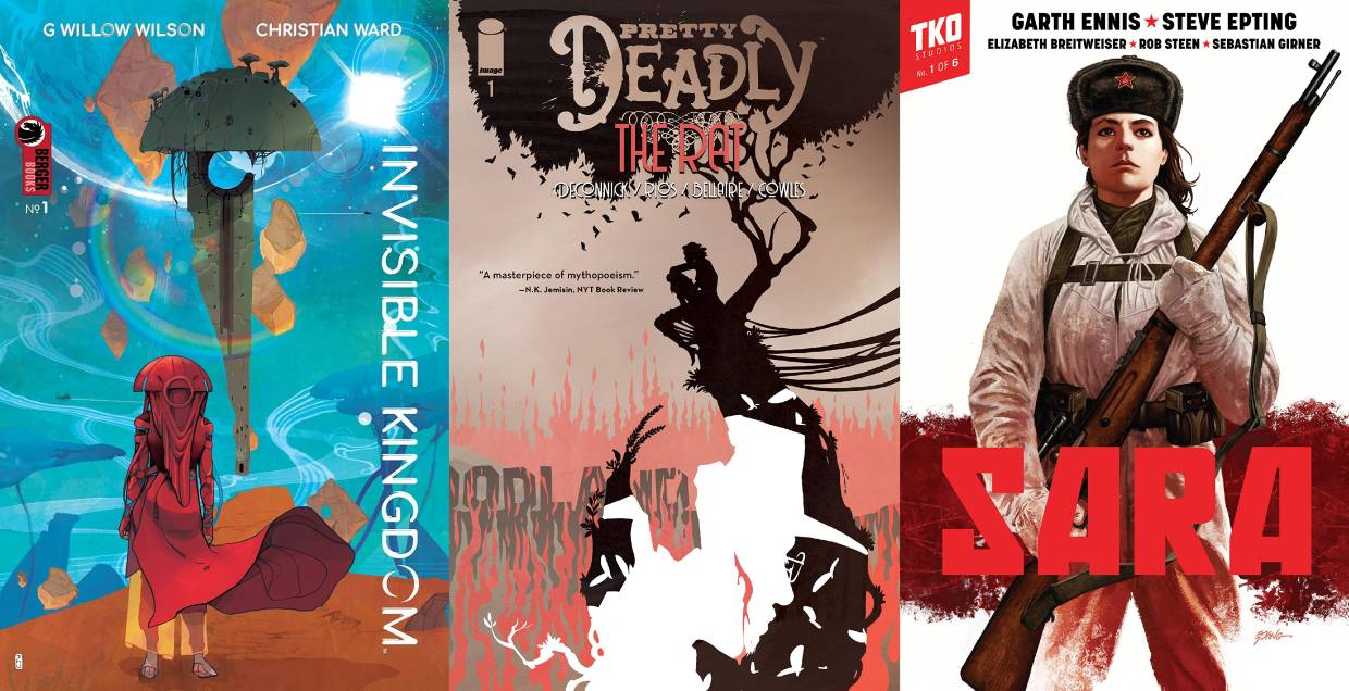 (From left) 'Invisible Kingdom', 'Pretty Deadly: The Rat', and 'Sara'.