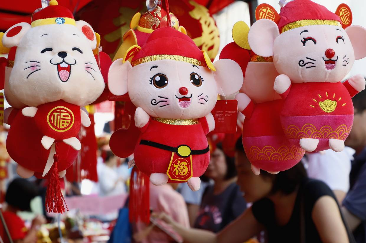 CNY mouse-themed plush toys on display at the Chowrasta Market at George Town, Penang. LIM BENG TATT/The Star