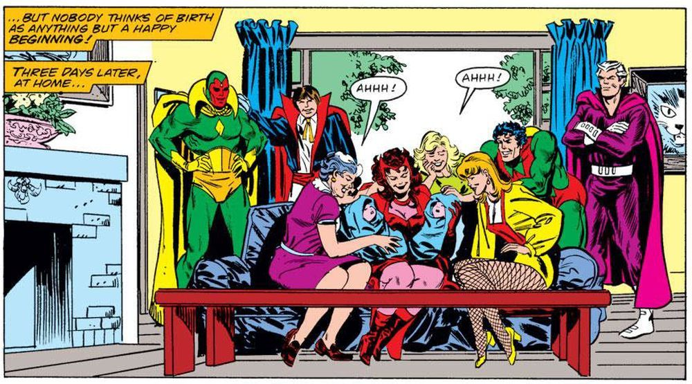 This picture of a happy family sadly did not last long for Scarlet Witch and Vision.