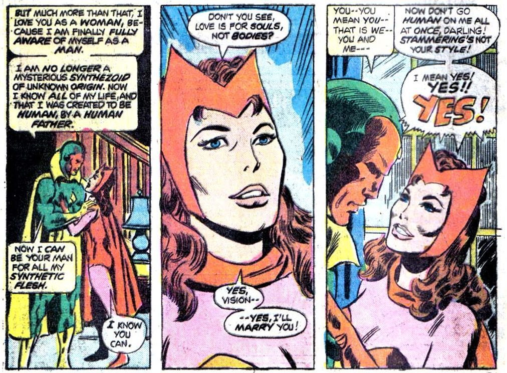 Vision proposed to Wanda and they got married within a single issue (Giant Size Avengers #4).