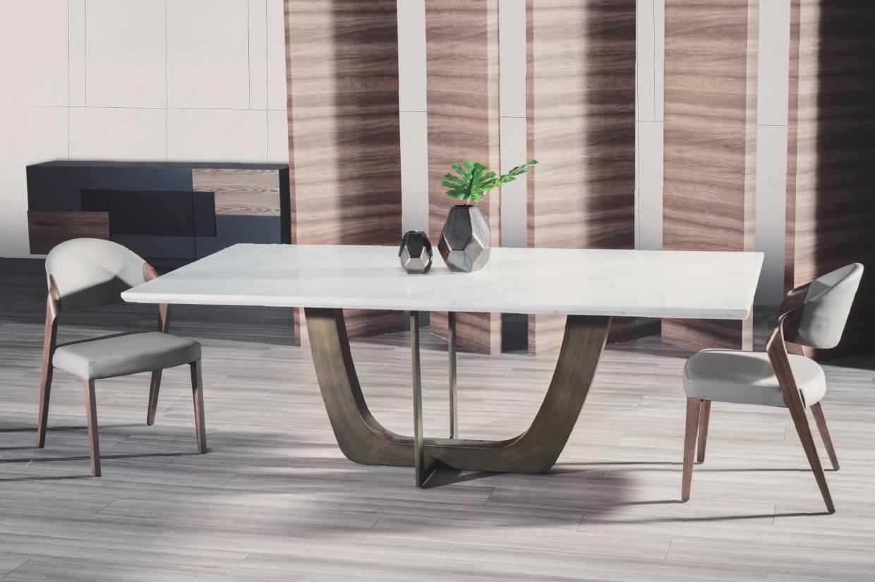 Expertly crafted dining tables and chairs combine marble, wood and metal to produce captivating pieces of discerning quality.