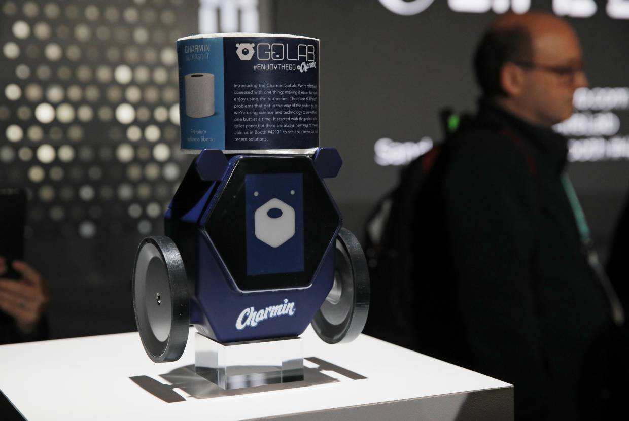 The Charmin RollBot can fetch a fresh roll of toilet paper but won't be going on sale anytime soon. — AP
