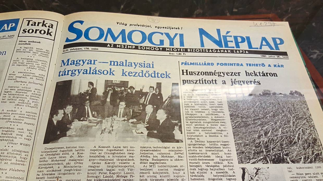 A newspaper article dated July 28, 1987, on Hungarian-Malaysian discussions between then Prime Minister Datuk Seri Dr Mahathir Mohamad and his Hungarian counterpart Karoly Grosz during Tun Mahathir's first official visit to Hungary.