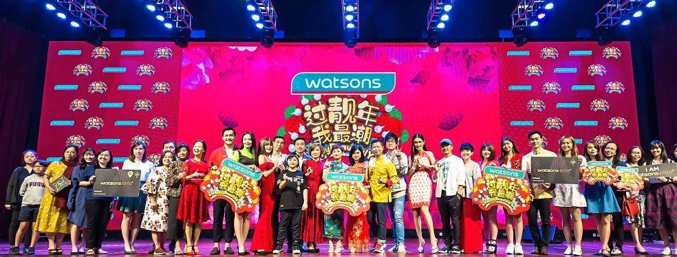 Loh (14th from right) with Hoh (at Loh's left), Watsons' celebrity friends, the CNY video cast, Elite members and other guests at the Watsons #HappyBeautifulYear Chinese New Year 2020 campaign launch.