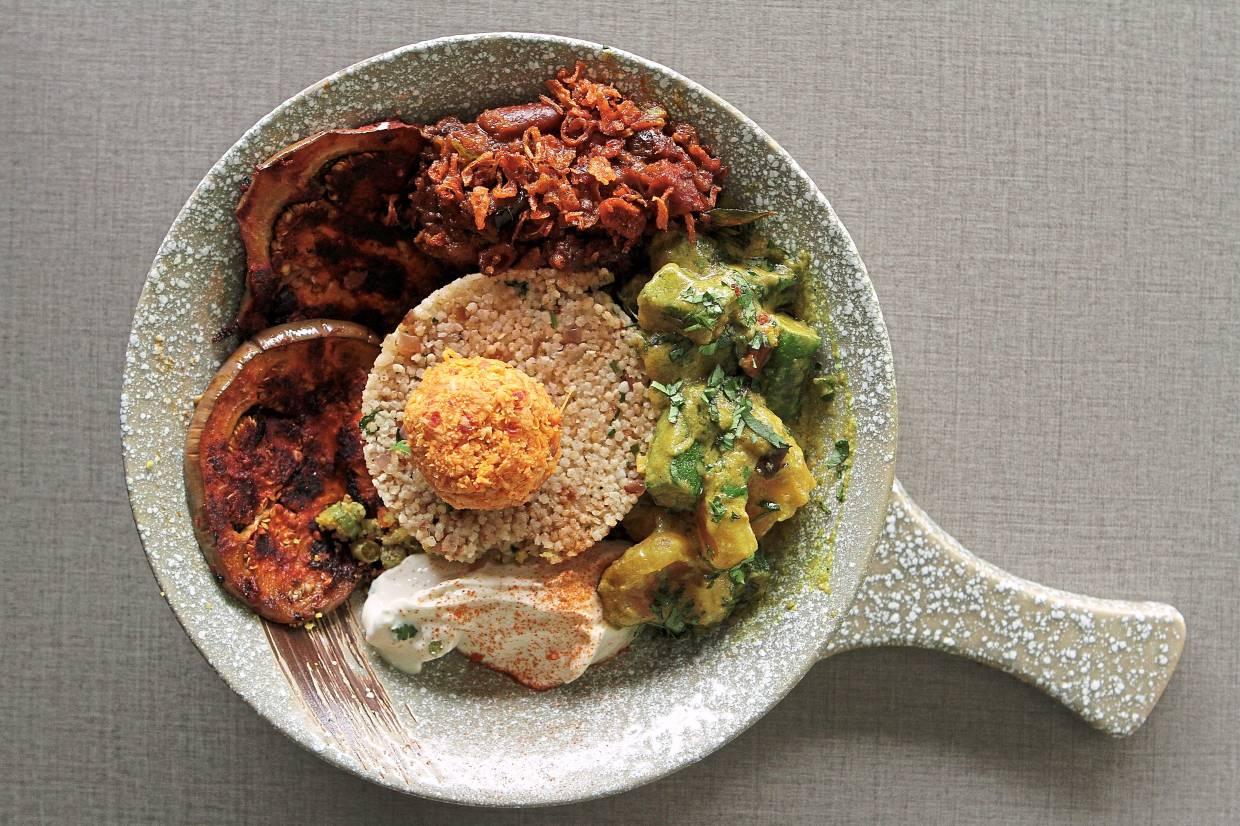 The goodness bowl is packed with all sorts of vegetarian delights.