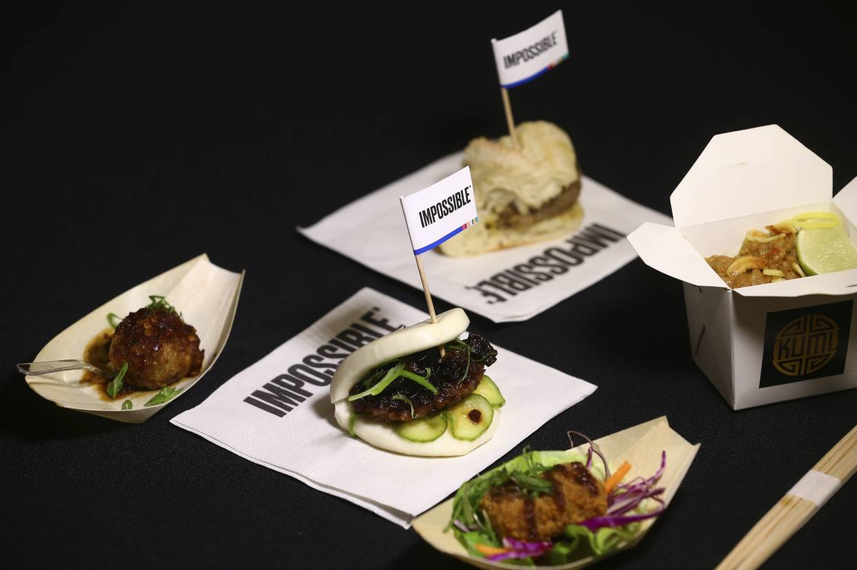 A variety of Impossible Pork dishes from Impossible Foods, the California plant-based meat company. — AP