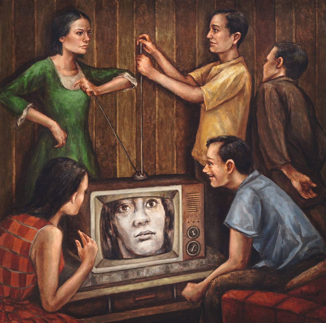 Tan's 'Signal Catcher' (oil on canvas, 2019) revisits the communal experience of watching television and dealing with lost transmissions. Photo: Siund Tan