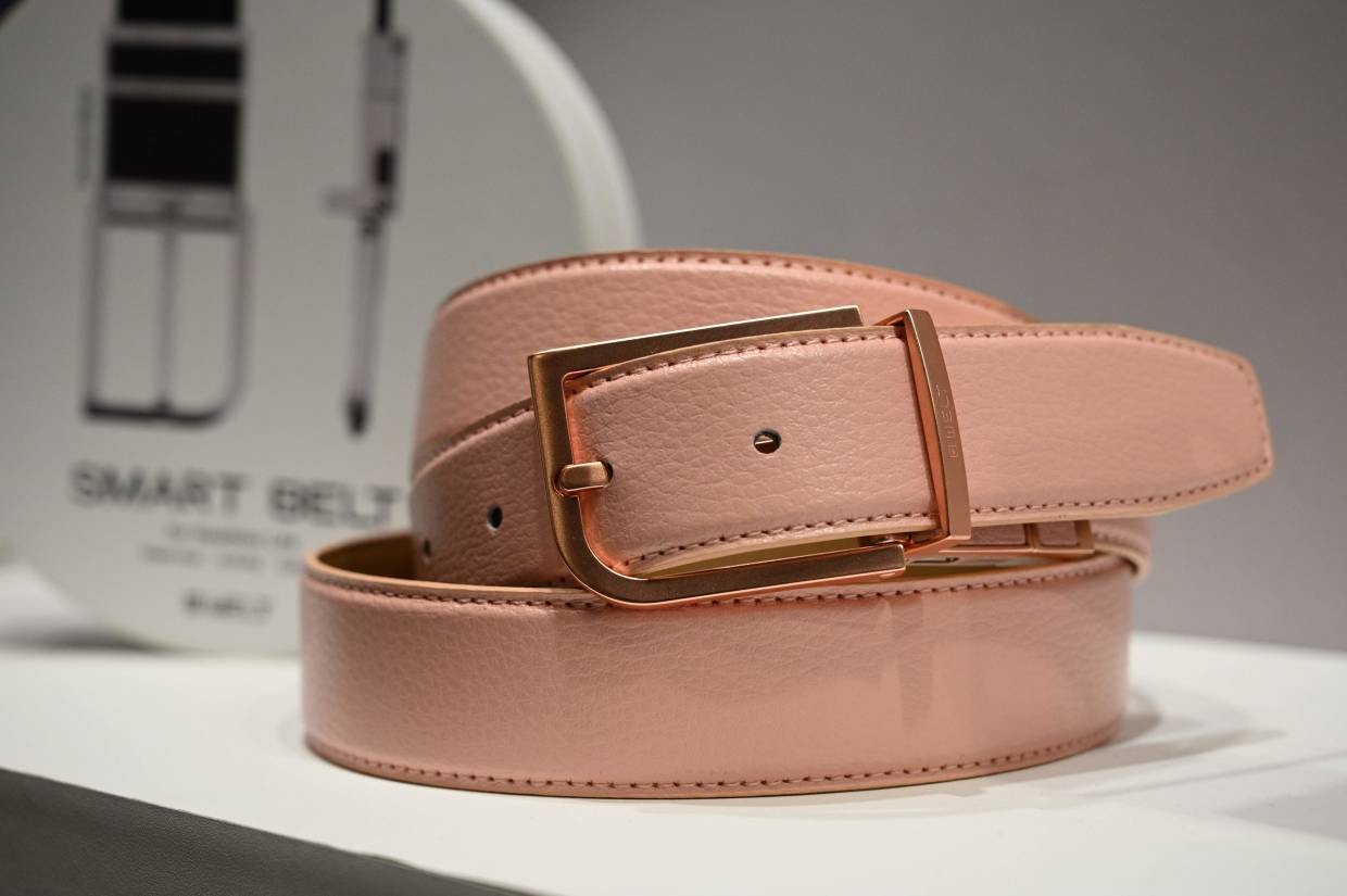 The Welt smart belt, with fall risk assessment, is displayed at the 2020 CES in Las Vegas. — AFP