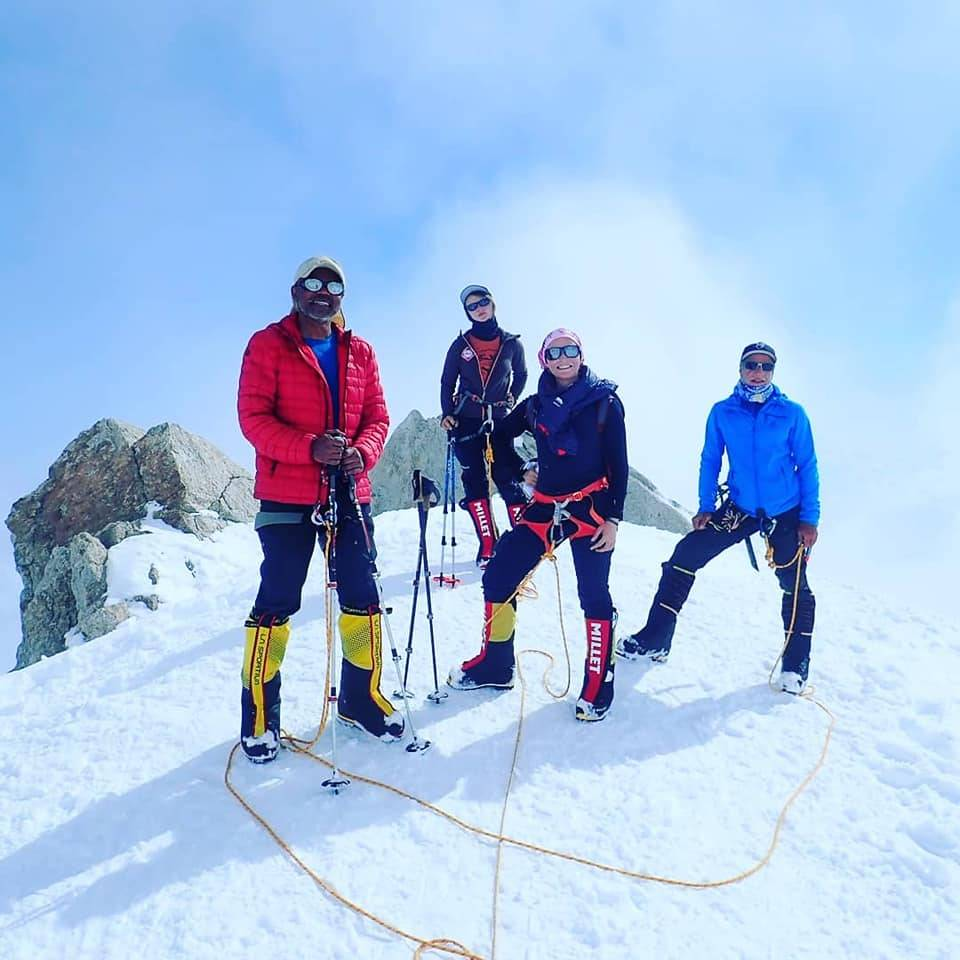 Rajan (left) with some of the other climbers on Mount Denali in Alaska.