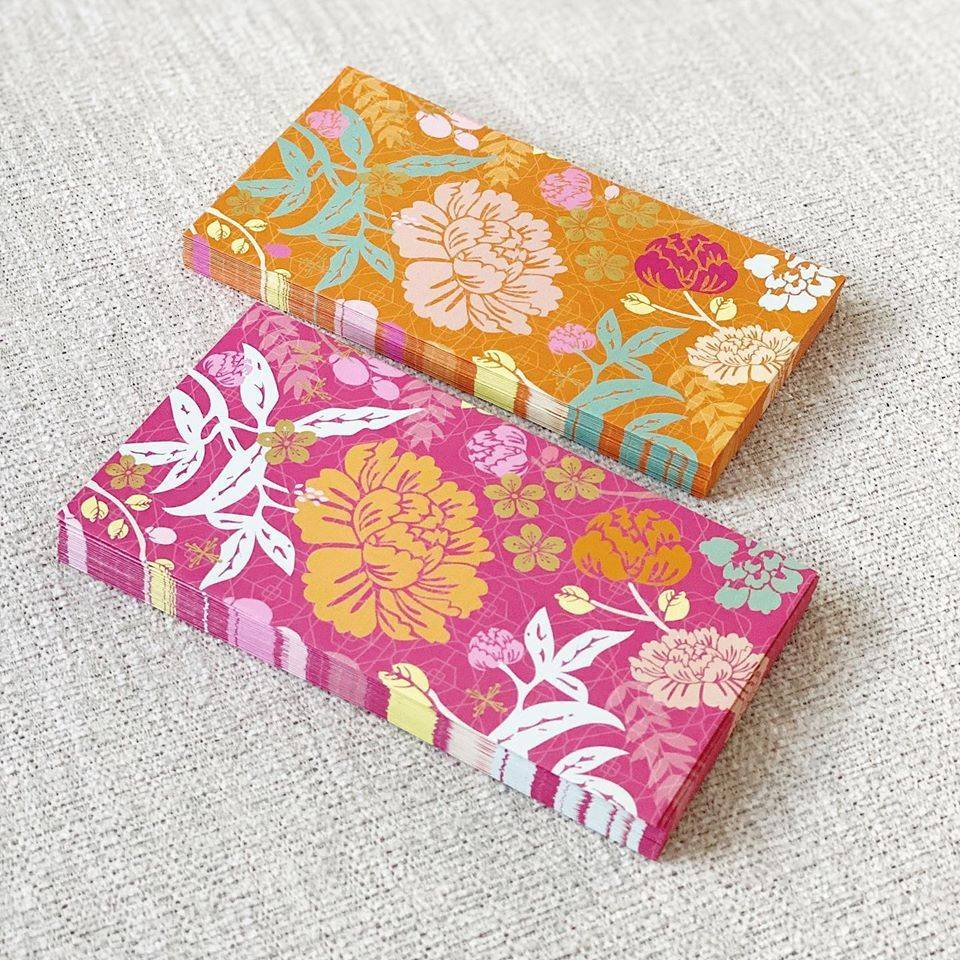 Tinytype's floral pattern money packet range called Opulence and Gratitude can be used for any occasion. Photo: Tinytype