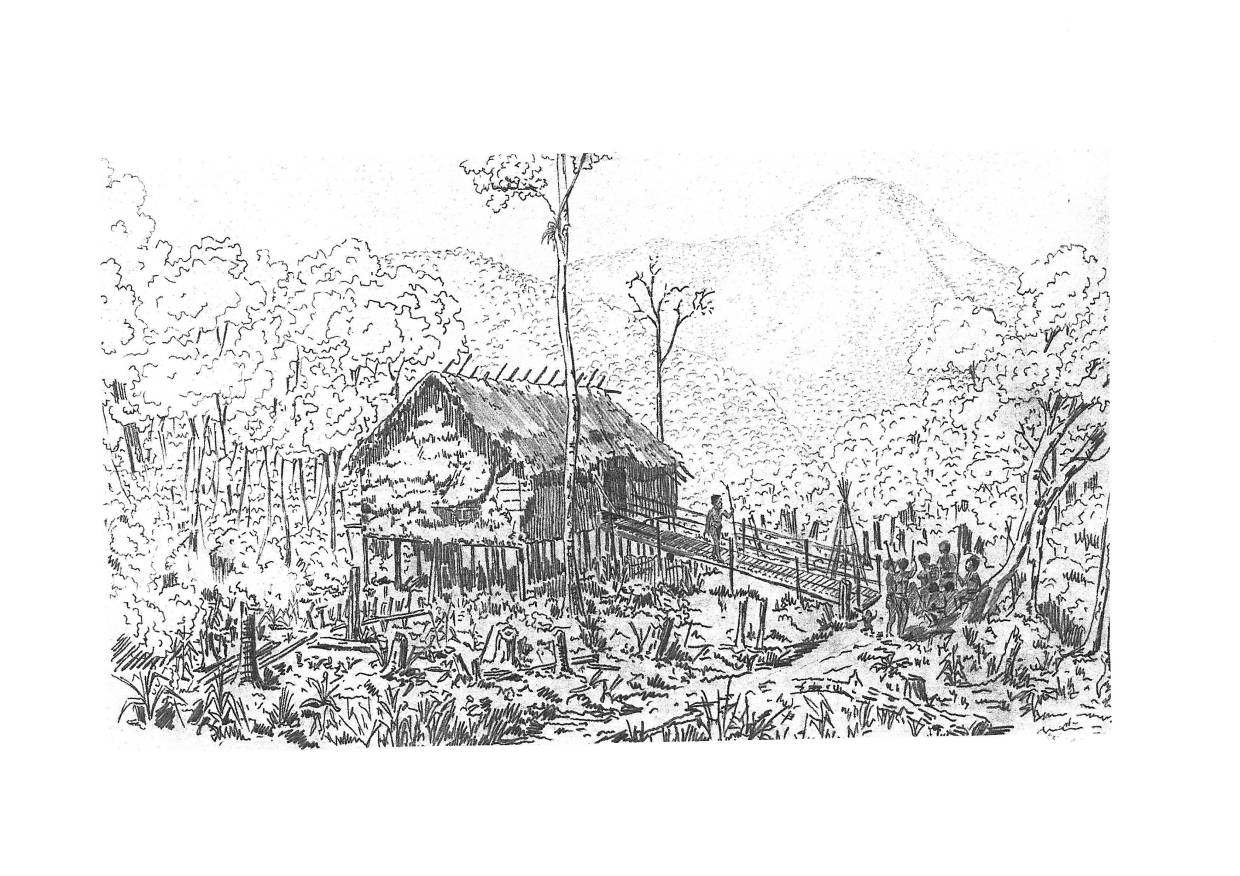 A Chinese ink drawing by Jacques de Morgan showing a Senoi longhouse. The forest has been cleared around the spot and it is probably planted with cultigens. Photo: Centre National de la Recherche Scientifique (CNRS)