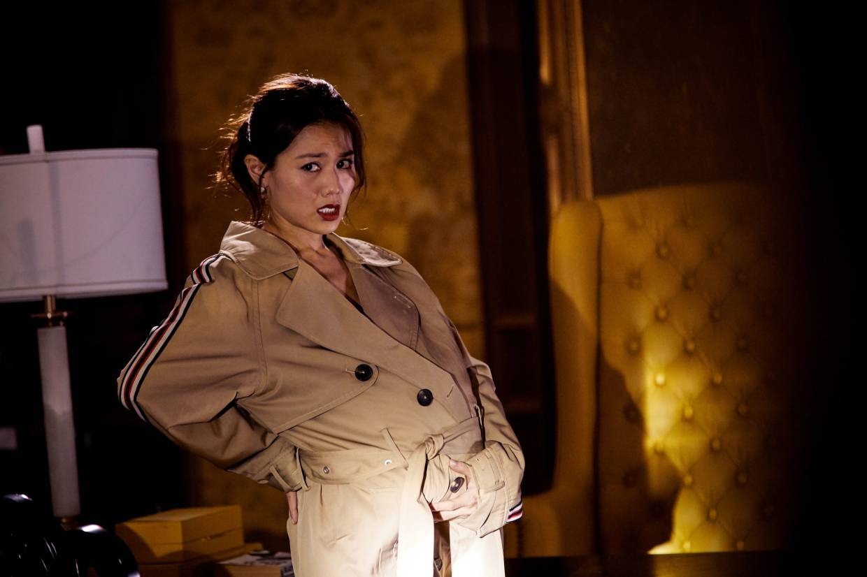 Chau pretending to be a pregnant woman in a scene from All's Well Ends Well 2020. — Handout