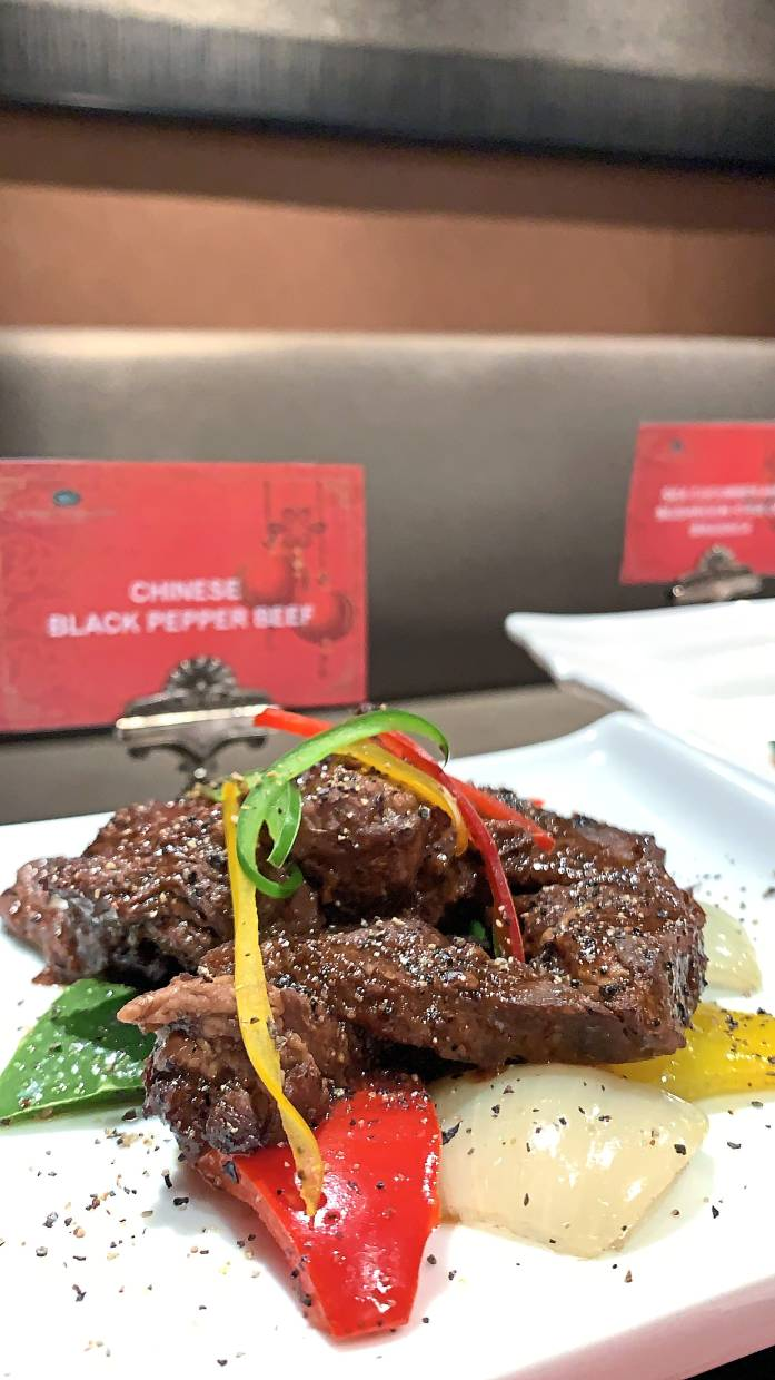 Chinese Black Pepper Beef is one of the hot dishes available.