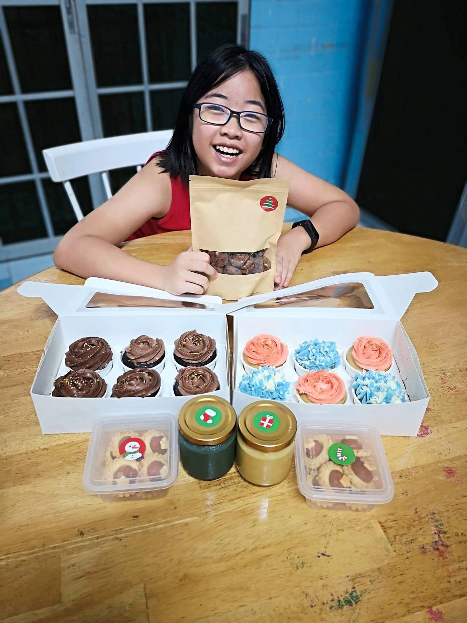Leah, who learnt how  to bake  cupcakes from videos, sold them on social media to raise money for her sister, Adele,  who was diagnosed with brain injury when she was  barely two months old.