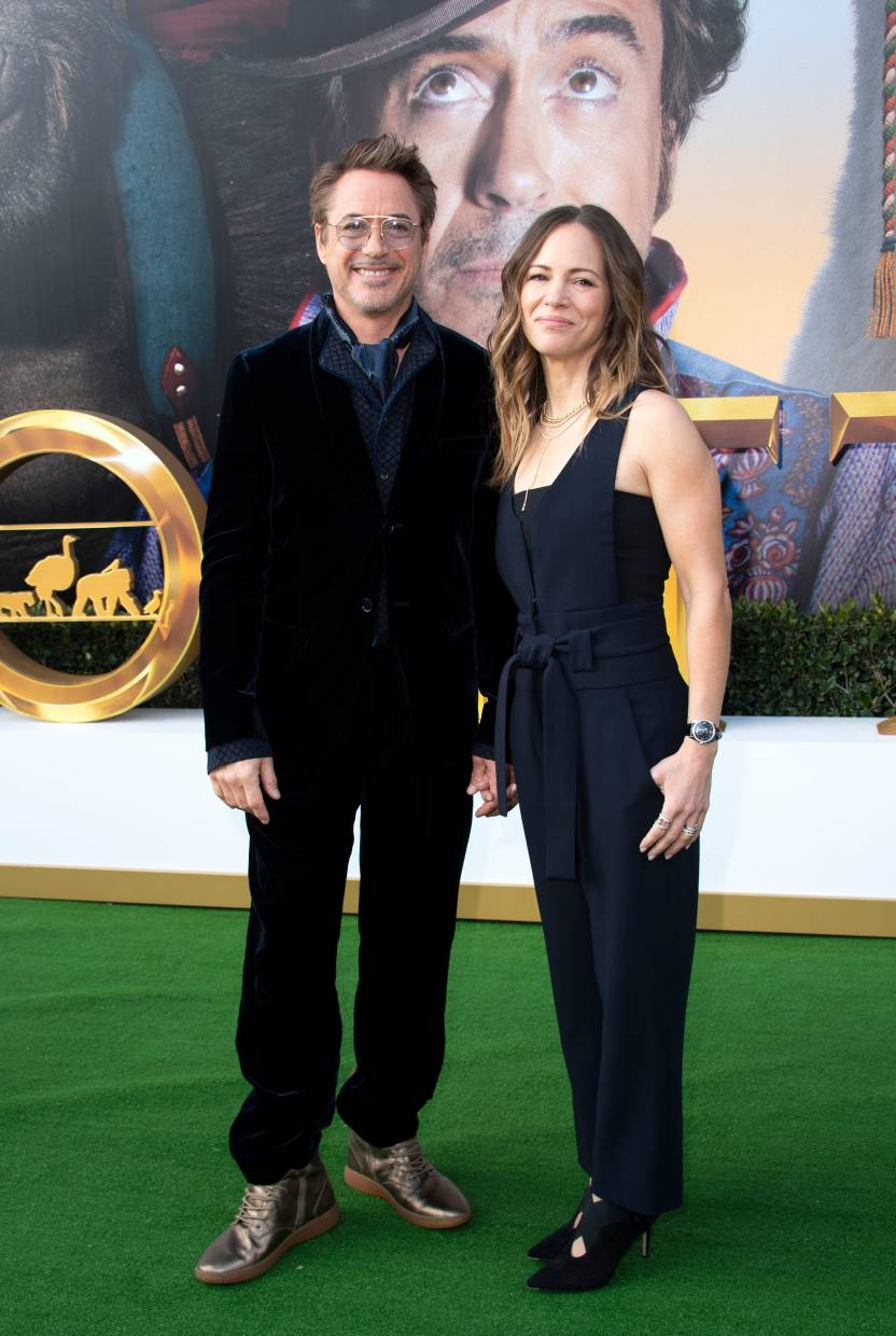 Robert Downey Jr (left) and producer Susan Downey at the premiere of 'Dolittle' in Westwood, California. - AFP