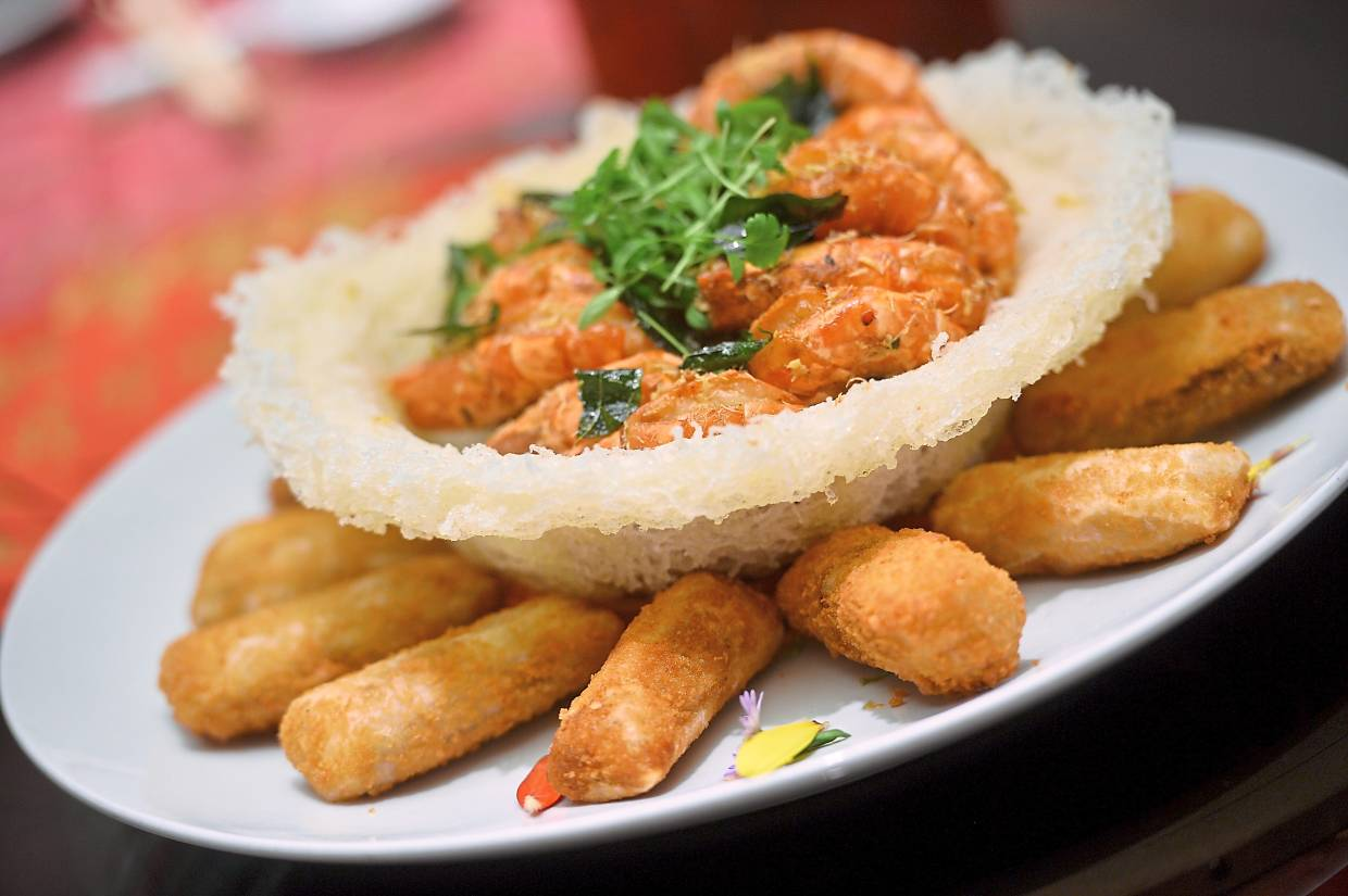 Tiger Butter Prawns with Crispy Prawn and Cheese Rolls.