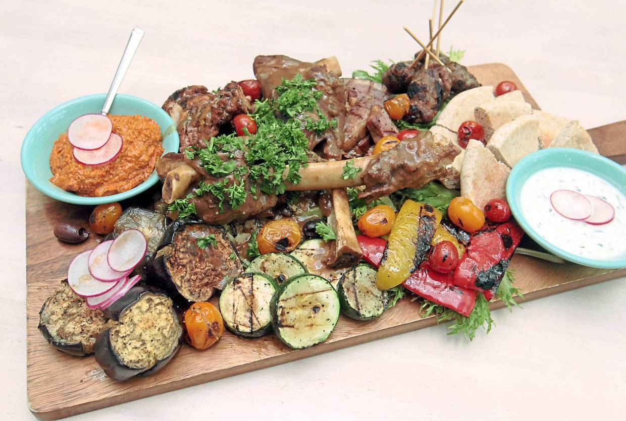 The meat platter is filled with a host of carnivorous options like smoked duck breast, spiced chicken and lamb patties.