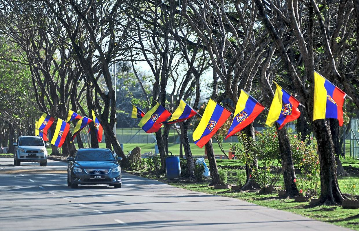 Federal Territory flags hang from trees lining the road leading  to the Labuan Sports Complex in conjunction with Federal Territory Day. — Bernama