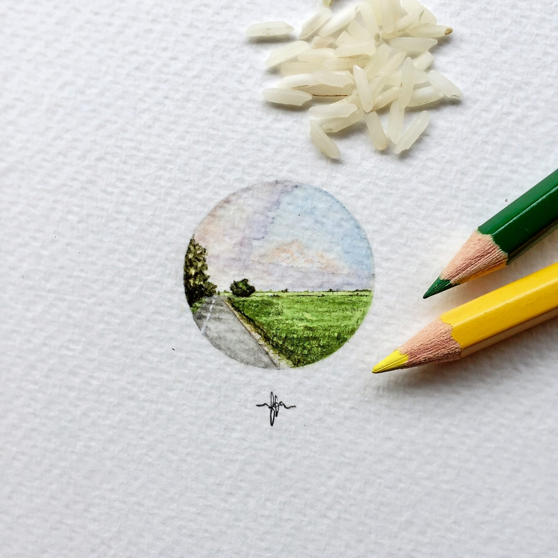 Fariza's 'Jelapang Padi' (watercolour on paper, 2017). Photo: Fariza Basri