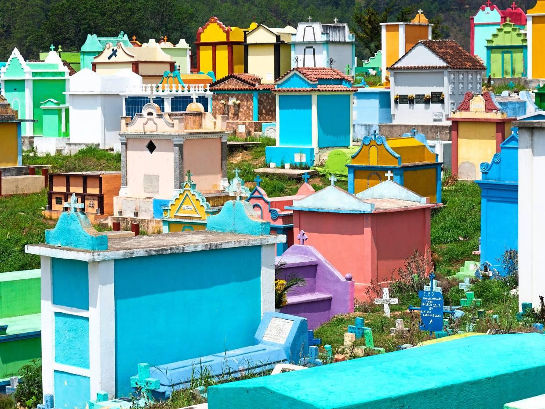 The colourful Chichicastenango cemetery in Guatemala.