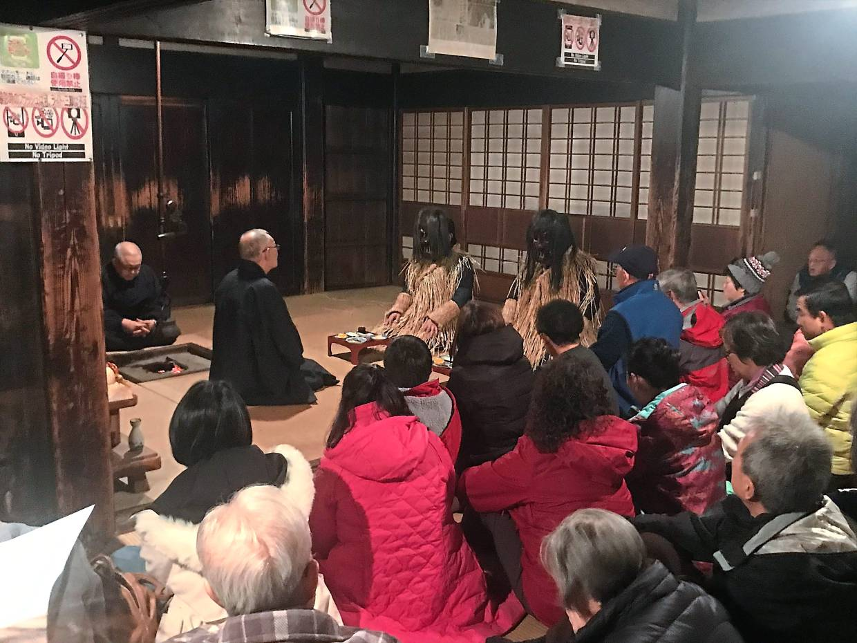 Visitors to the Oga Shinzen Folklore Museum can watch a reenaction of the Namahage's visits to village homes.