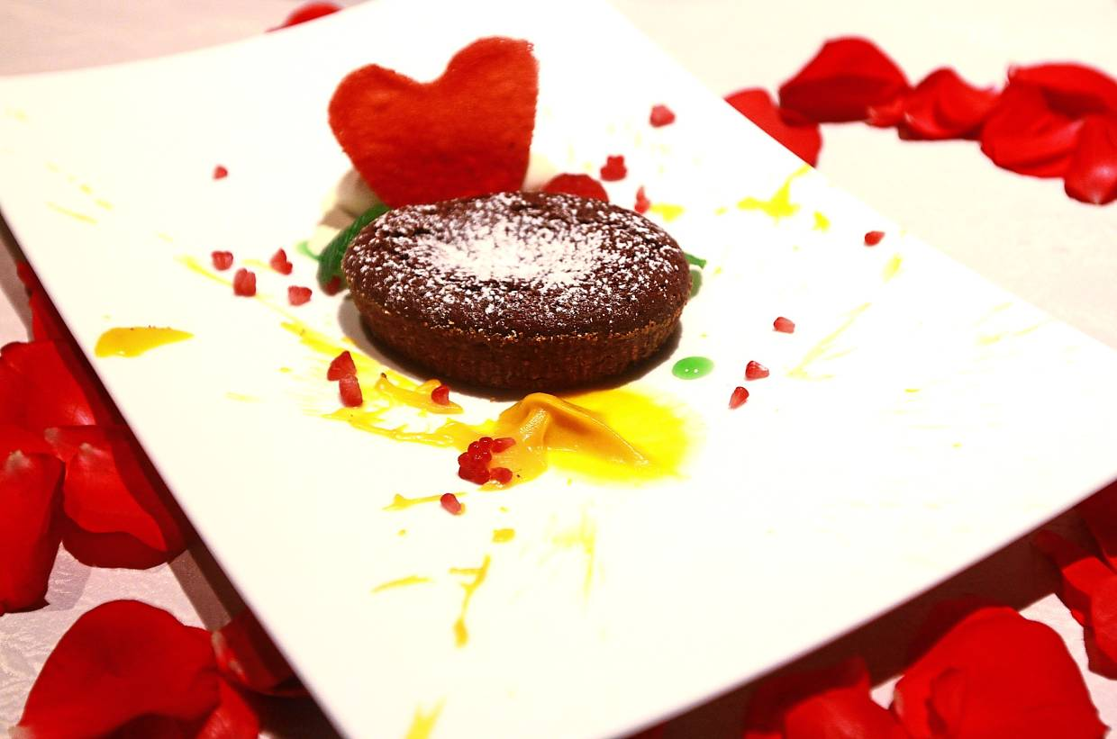 Chocolate and Pistachio Tortino Pumpkin Cream with Vanilla Ice Cream Mixed Berries