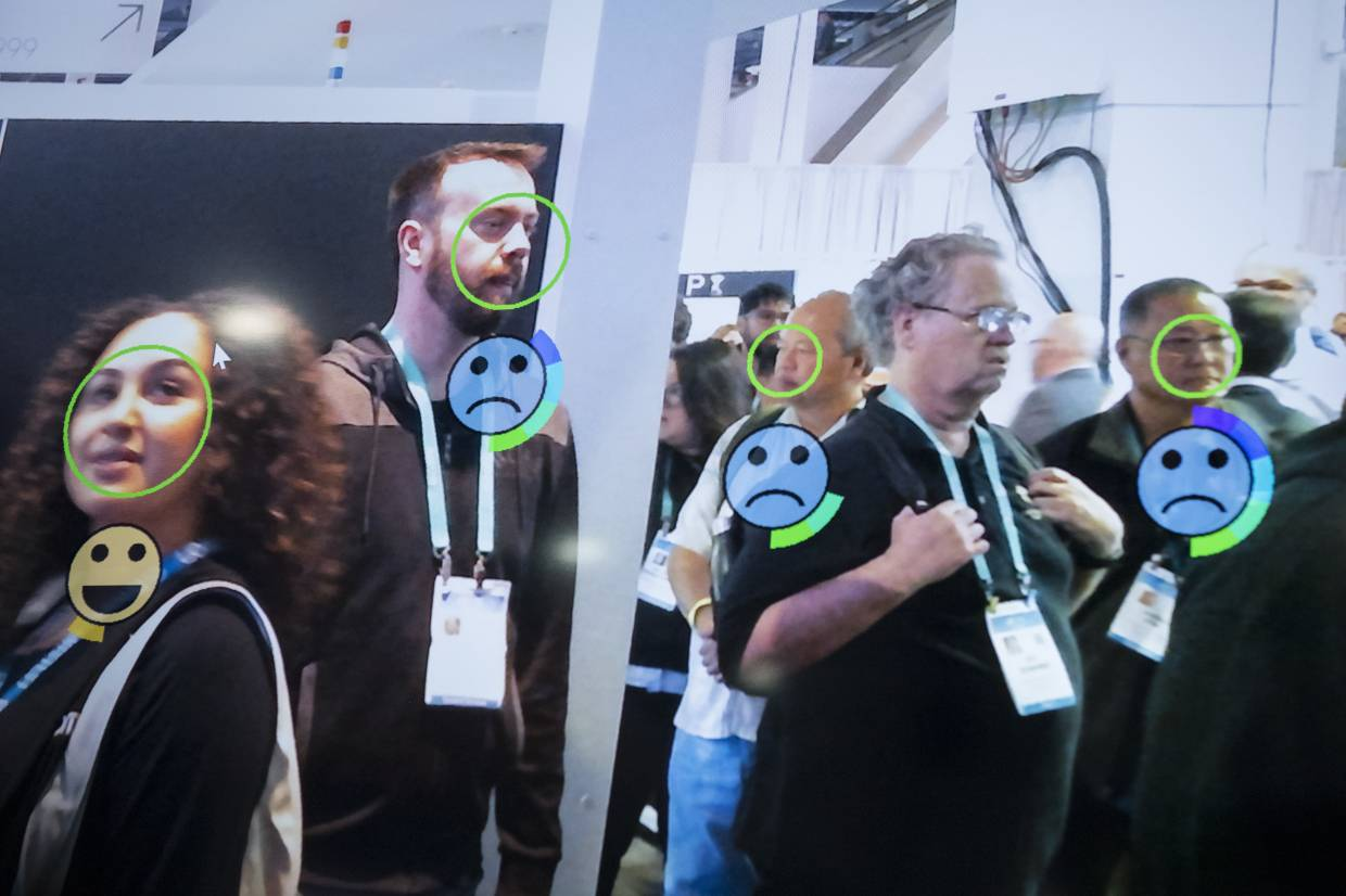A monitor displays face and emotion detection technology during CES 2020 in Las Vegas, Nevada. — Bloomberg