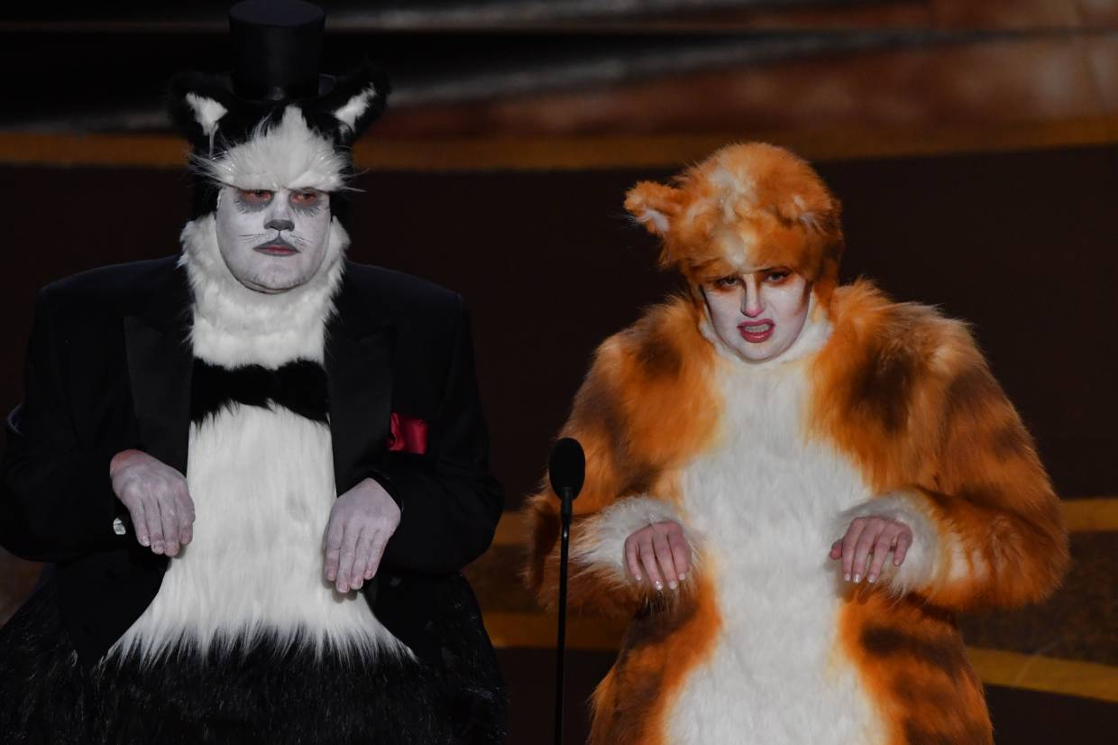 James Corden (left) and Rebel Wilson dressed as their characters from the box office bomb 'Cats'. -  Photo: AFP
