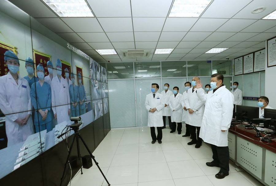 President Xi Jinping talks to medical staff on duty via a video link at Beijing Ditan Hospital in Beijing, capital of China, on Feb. 10, 2020. (Xinhua/Ju Peng)