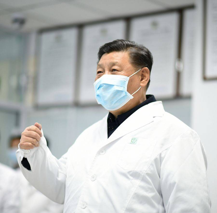 President Xi Jinping checks the treatment of hospitalized patients at the monitoring center and talks to medical staff on duty via a video link at Beijing Ditan Hospital in Beijing, capital of China, on Feb. 10, 2020. (Xinhua/Xie Huanchi)