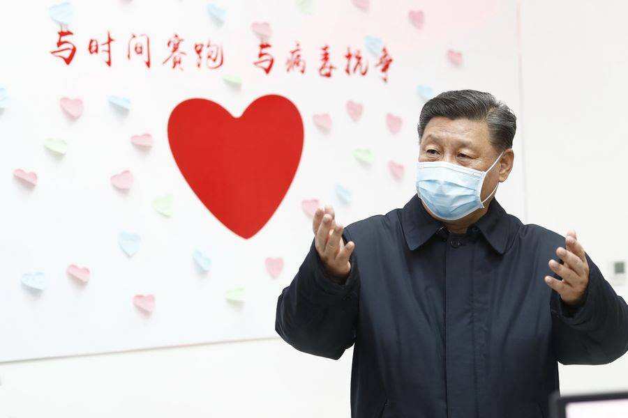 President Xi Jinping inspects the center for disease control and prevention of Chaoyang District in Beijing, capital of China, on Feb. 10, 2020. (Xinhua/Liu Bin)