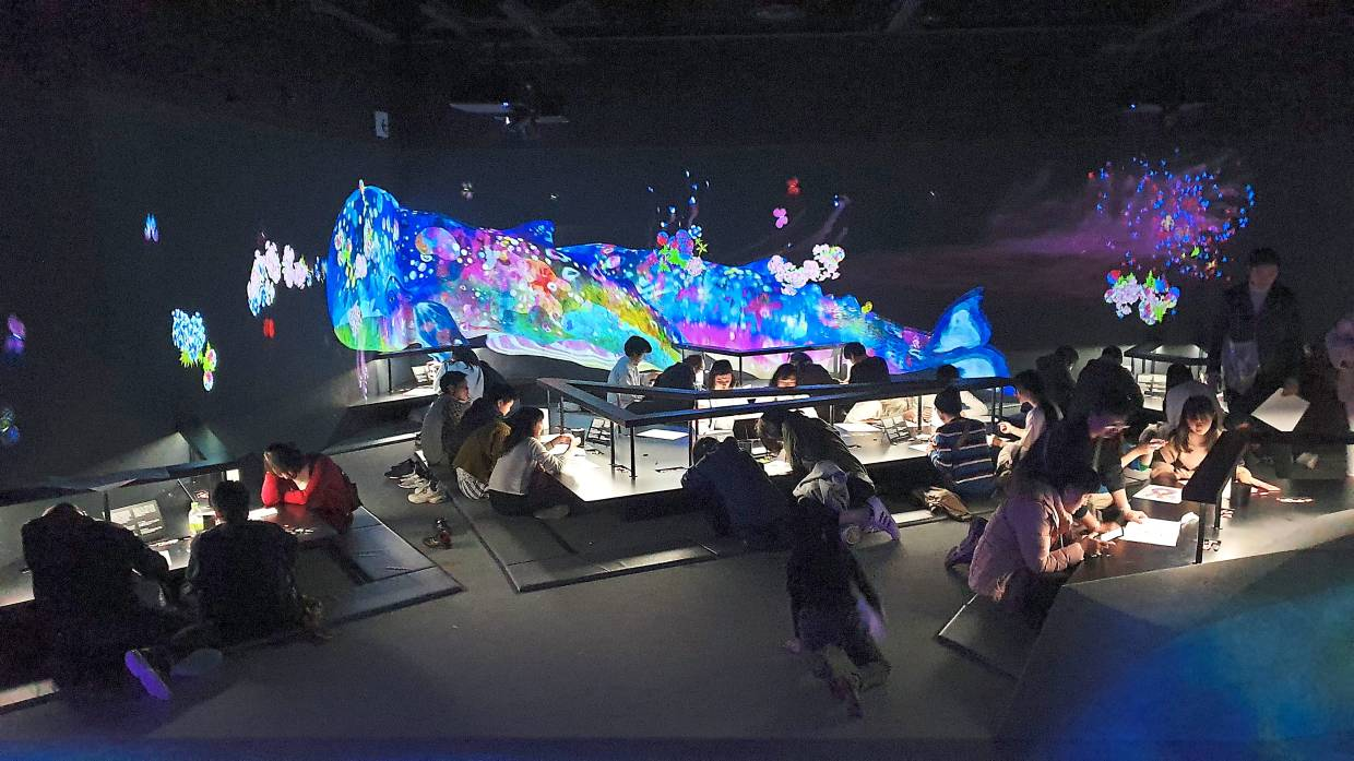 You can colour printouts of marine animals and have your work projected all around the hall at the Sketch Aquarium.
