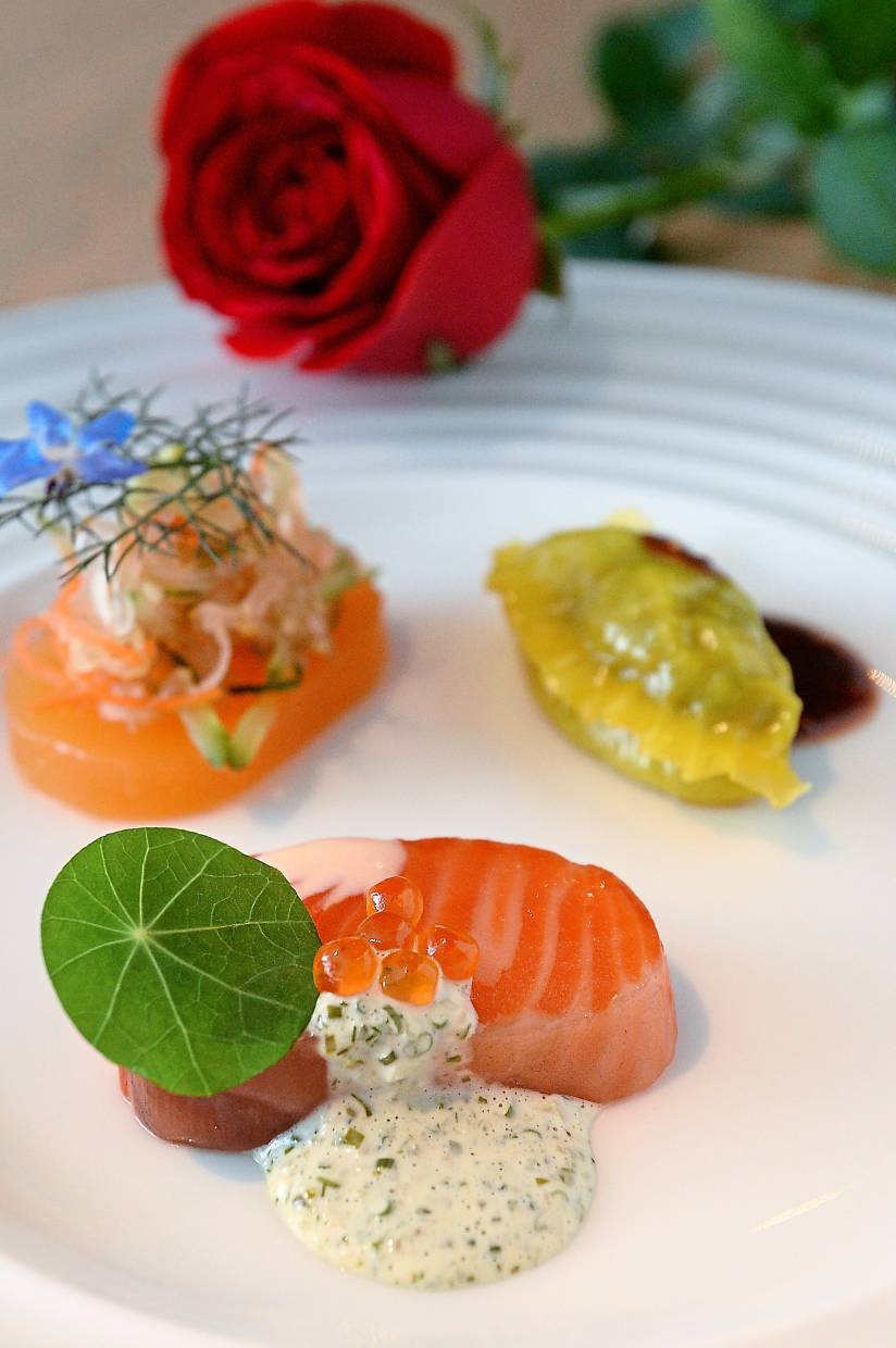 Cured fish, rockmelon and seafood dumpling may not seem like complimentary flavours but surprisingly go well together.