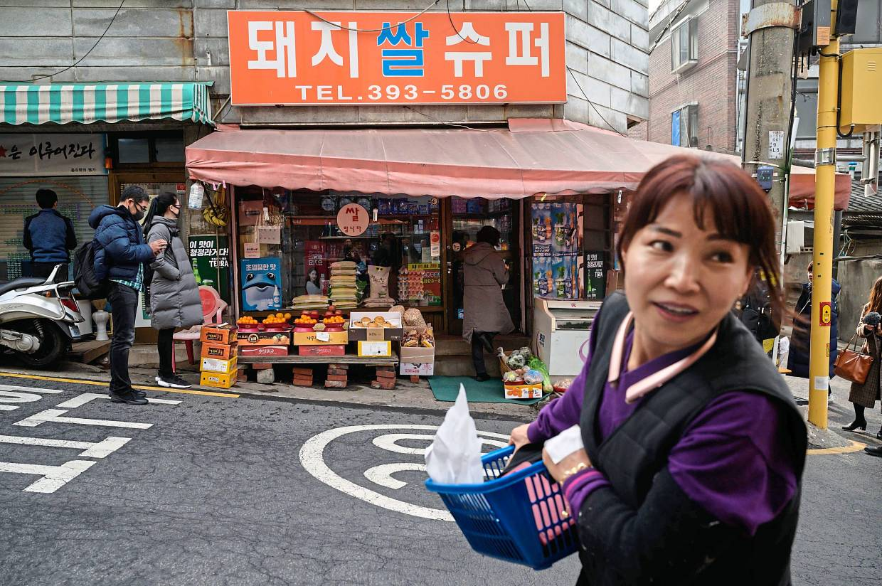 A general view shows the the Pig Rice supermarket in Seoul. Photo: AFP