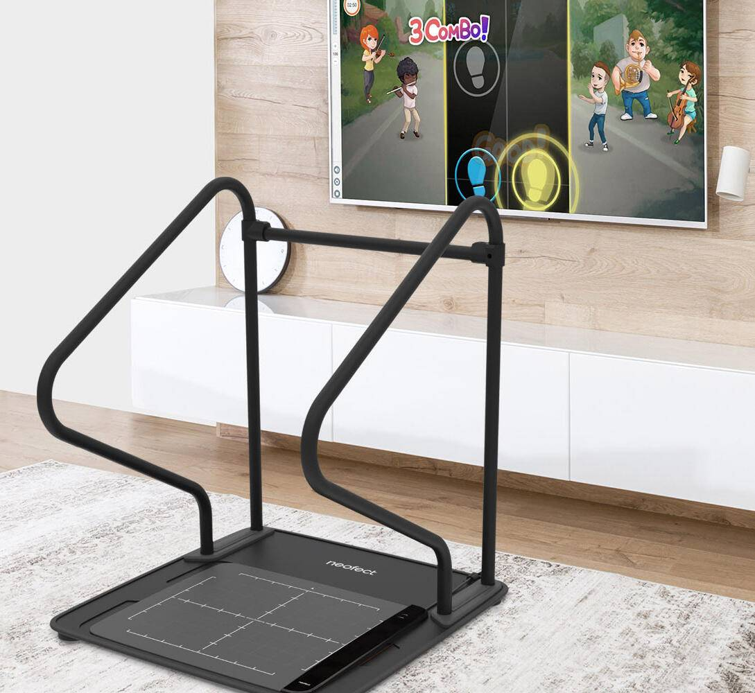 This lower-limb rehabilitation device is designed for stroke patients or those with spinal cord injuries to practice movements through a Dance Dance Revolution-styled game.