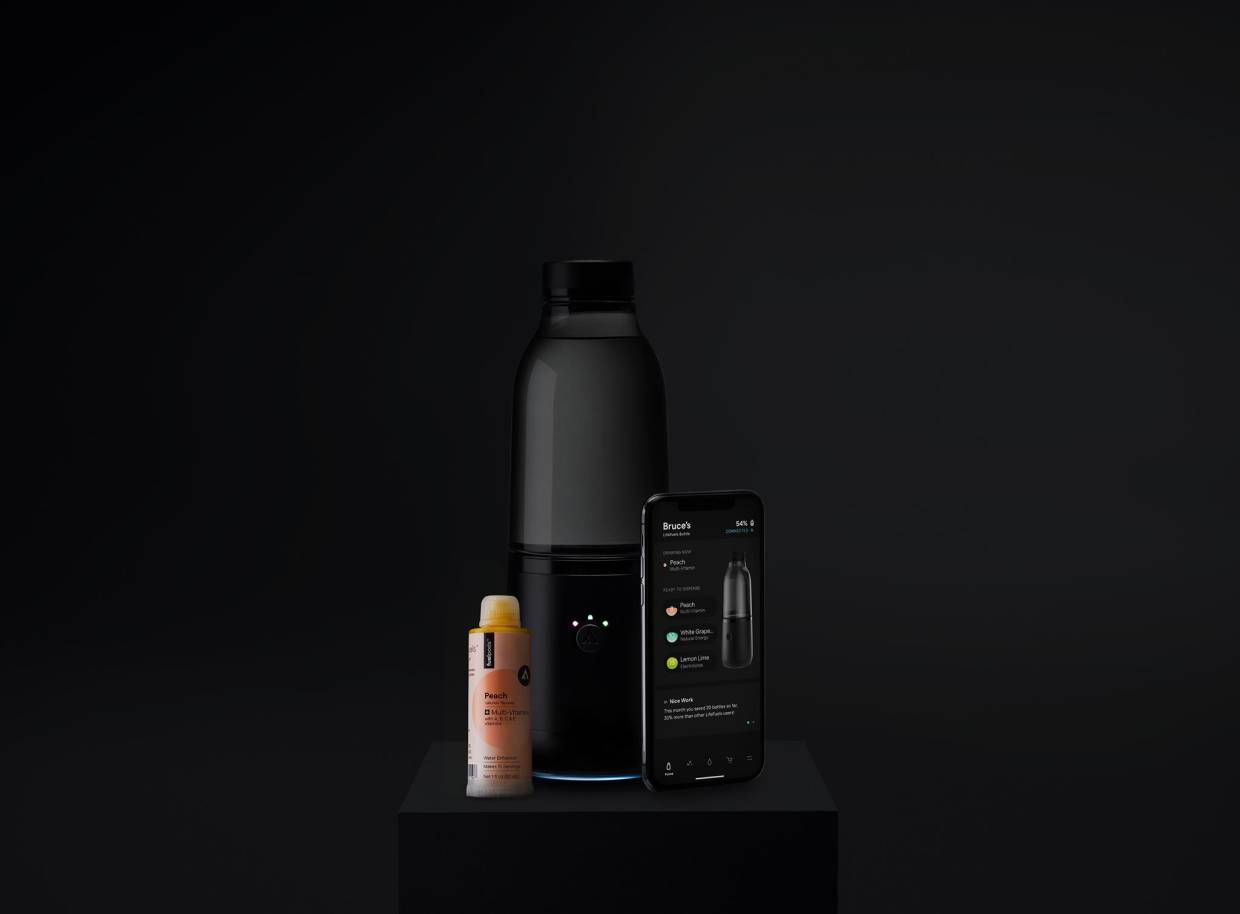 When a user is ready to 'Swipe to dispense', it will make a drink from flavoured FuelPods like Peach with multivitamins and Lemon Lime with electrolytes blend.